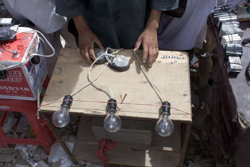 Phone battery charging kiosk, Afghanistan